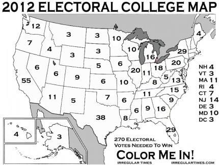 Eleven States Needed To Win The Presidency - Electoral votes us map