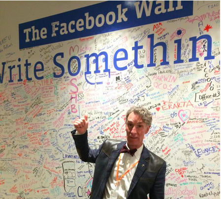 Bill Nye stands at The Facebook Wall